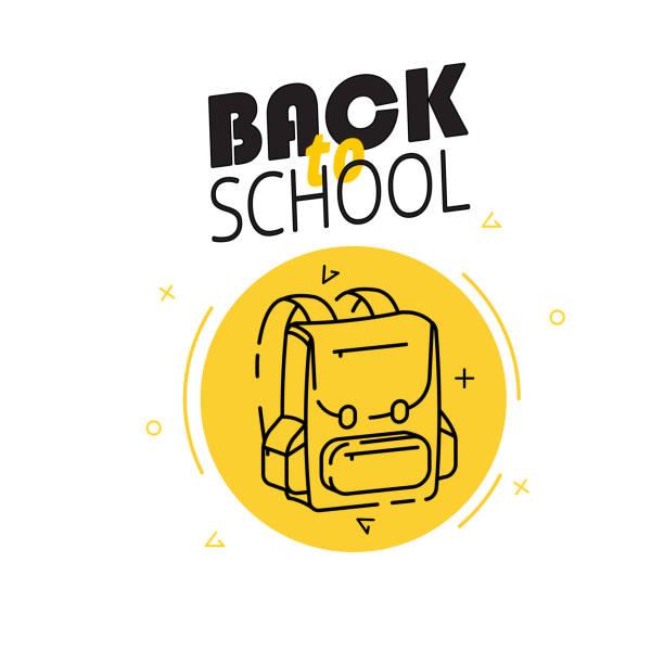 Abzeichen mit Schulrucksack auf weißem Hintergrund. Schulbedarf in der Förderung. Vektor-Illustration. – Vektorgrafik