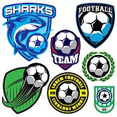 badge with soccer ball and shark for team, vector illustration