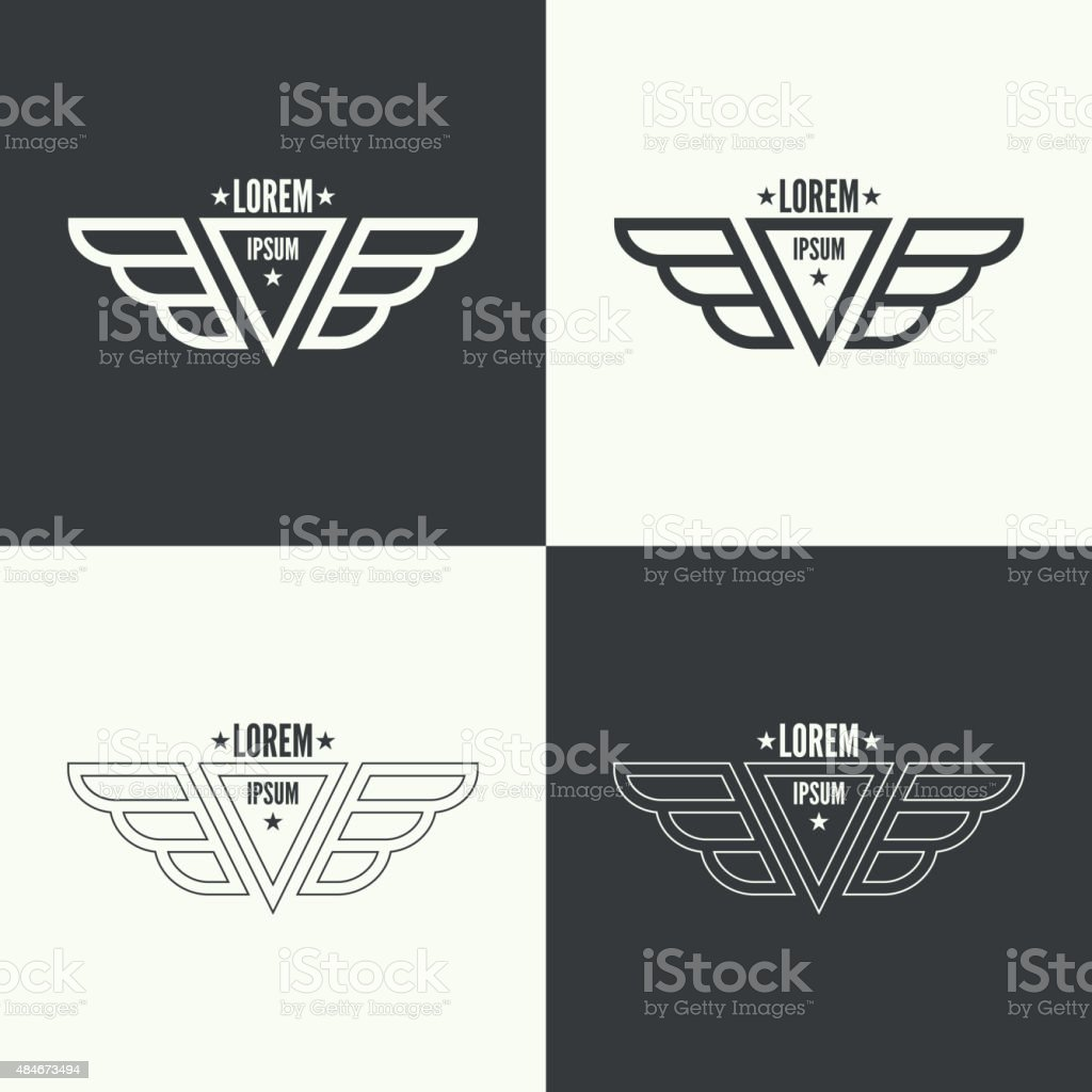 Badge with wings vector art illustration