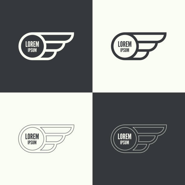 Badge with wings Badge and shield with wings. Symbol of military and civil aviation. Outline  emblems aircraft wing stock illustrations