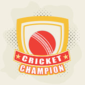 Badge with winning trophy and ball for cricket concept.