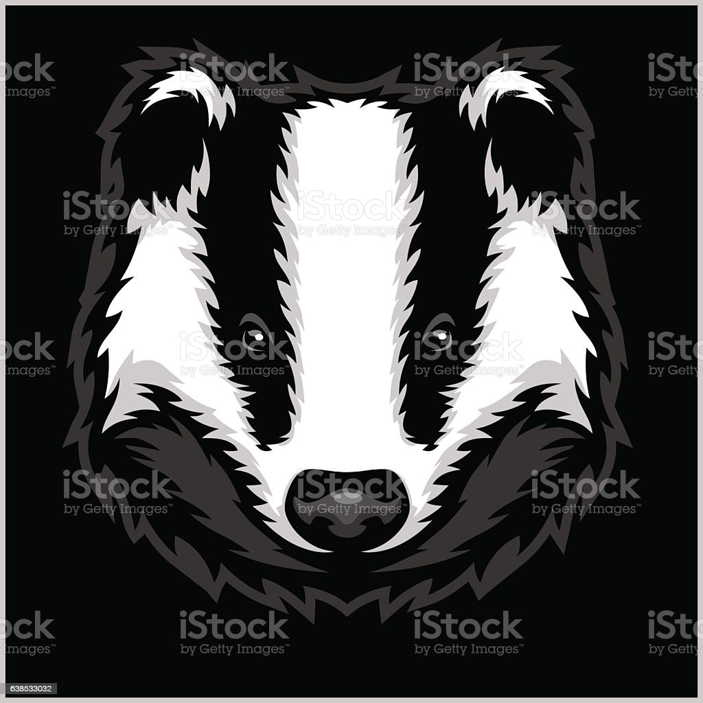 Badger Head black and white vector art illustration