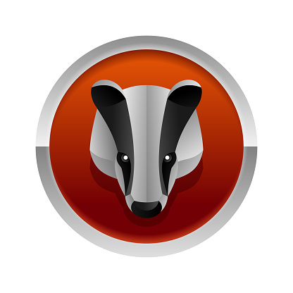 Badger logo - 3D origami animal head