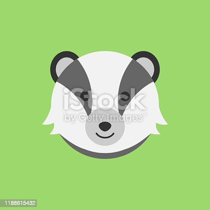 Cute badger round vector graphic icon. Badger animal head, face illustration. Isolated on green background.