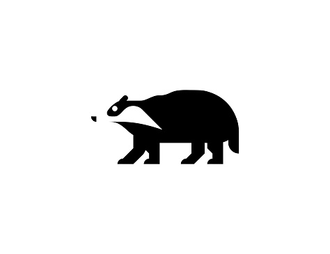 Badger vector icon. Isolated badger animal flat symbol