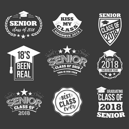 badges and cute funny labels for graduating senior class 2018