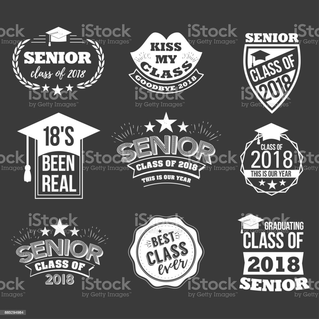badges and cute funny labels for graduating senior class 2018 vector art illustration