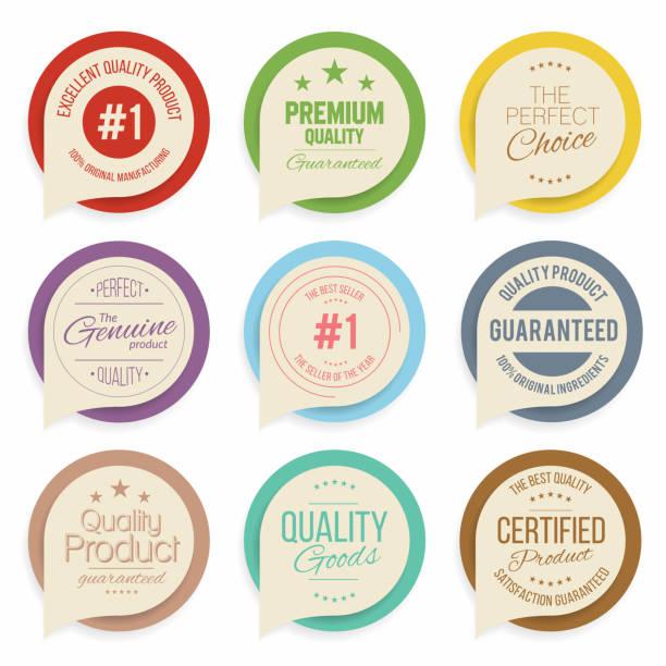 abzeichen und etiketten-kollektion. qualität und qualitätssicherung marken - siegelstempel stock-grafiken, -clipart, -cartoons und -symbole