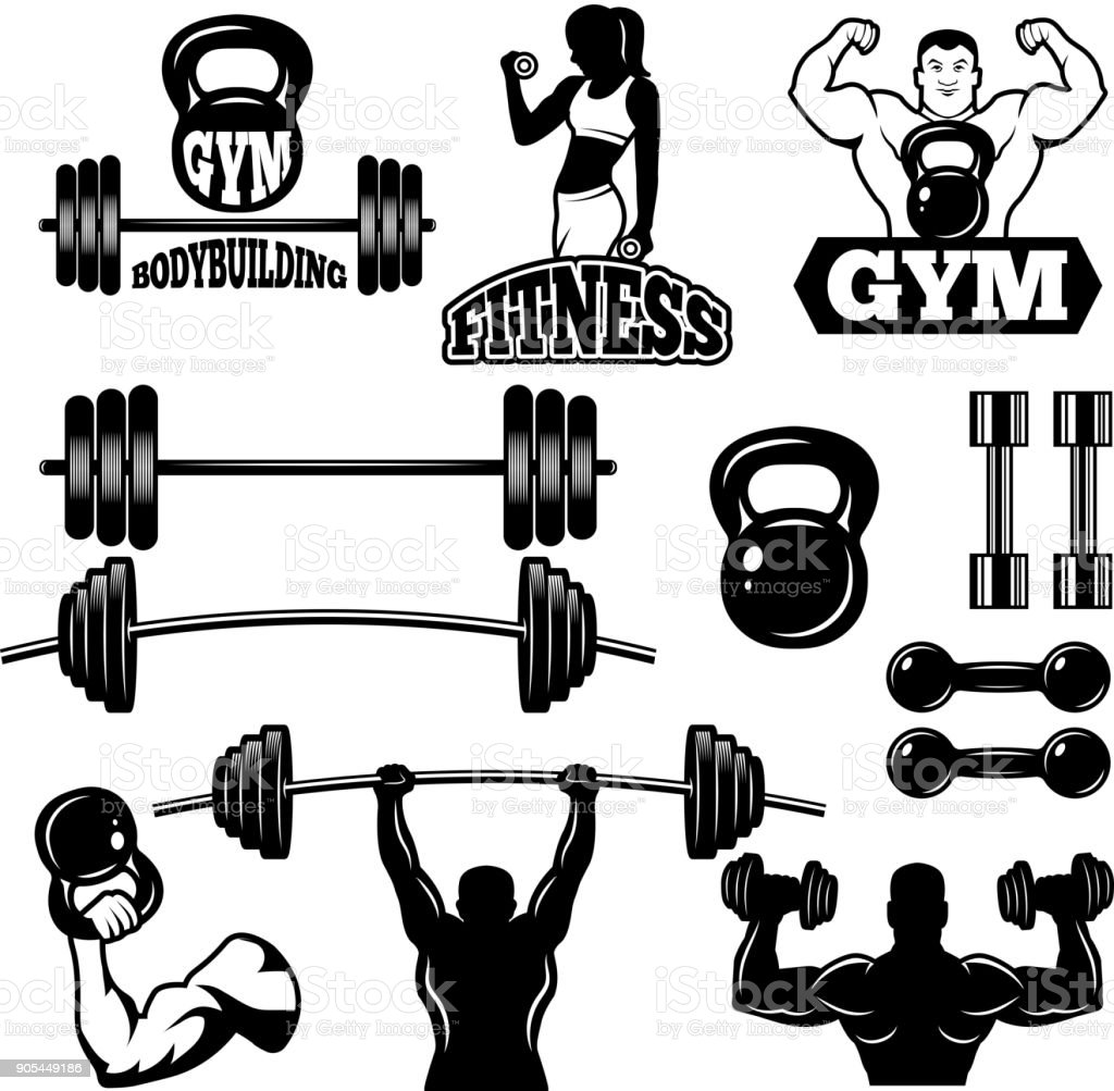 Badges and labels for gym and fitness club. Sport symbols in monochrome style vector art illustration