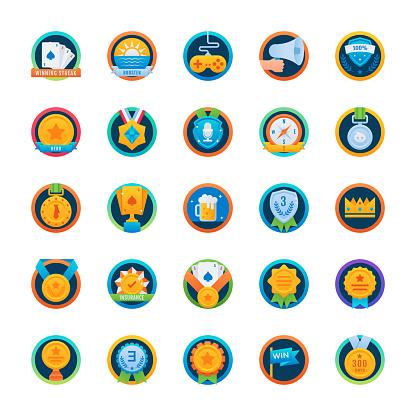 Badges and Reward Flat Rounded Icons Set