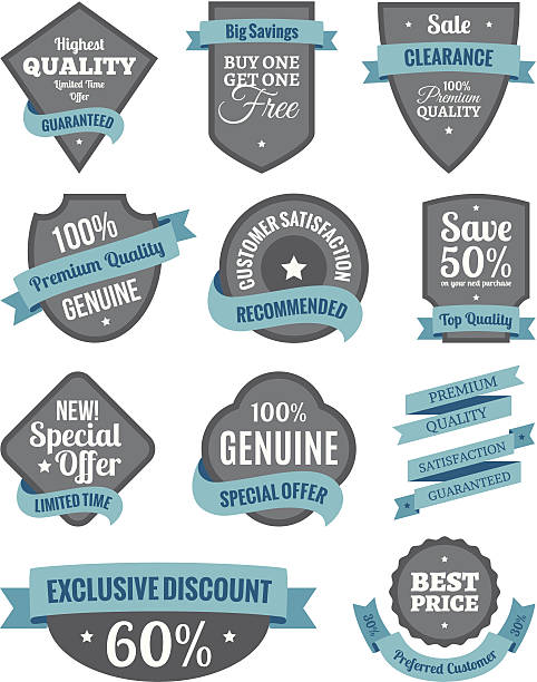 Badges and Ribbons Turquoise Two vector art illustration