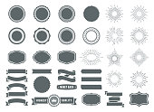Vector illustration of the badges and sunburst element design collection. Design elements.