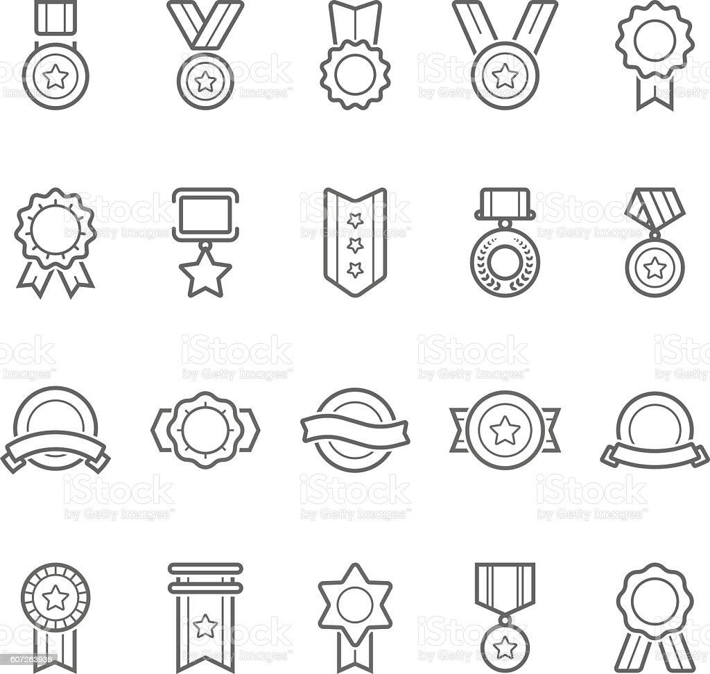 Badges awards vector outline stroke icon set vector art illustration