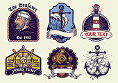 vector of badges design collection nautical in vintage look