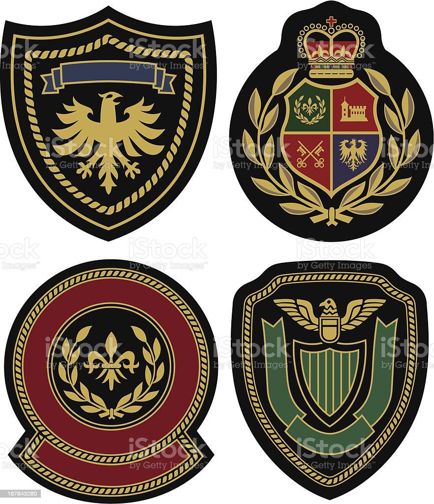 Badges displaying royal classic emblem designs royalty-free stock vector art