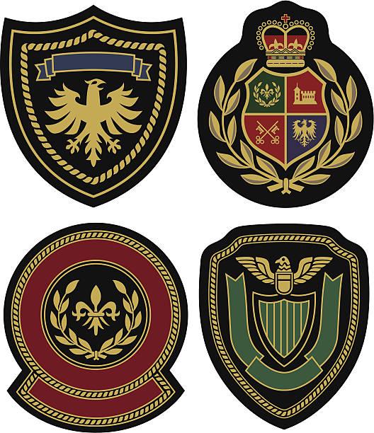 royal klassische emblem abzeichen shield - wappen stock-grafiken, -clipart, -cartoons und -symbole