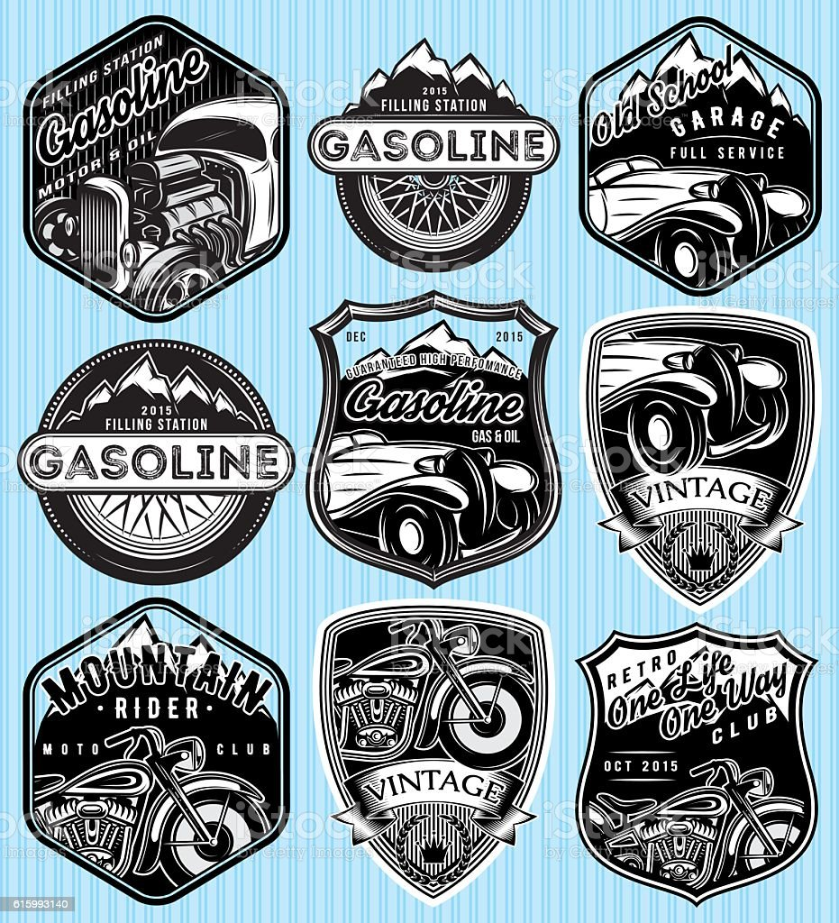 badges for advertising gasoline, retro cars or moto vector art illustration
