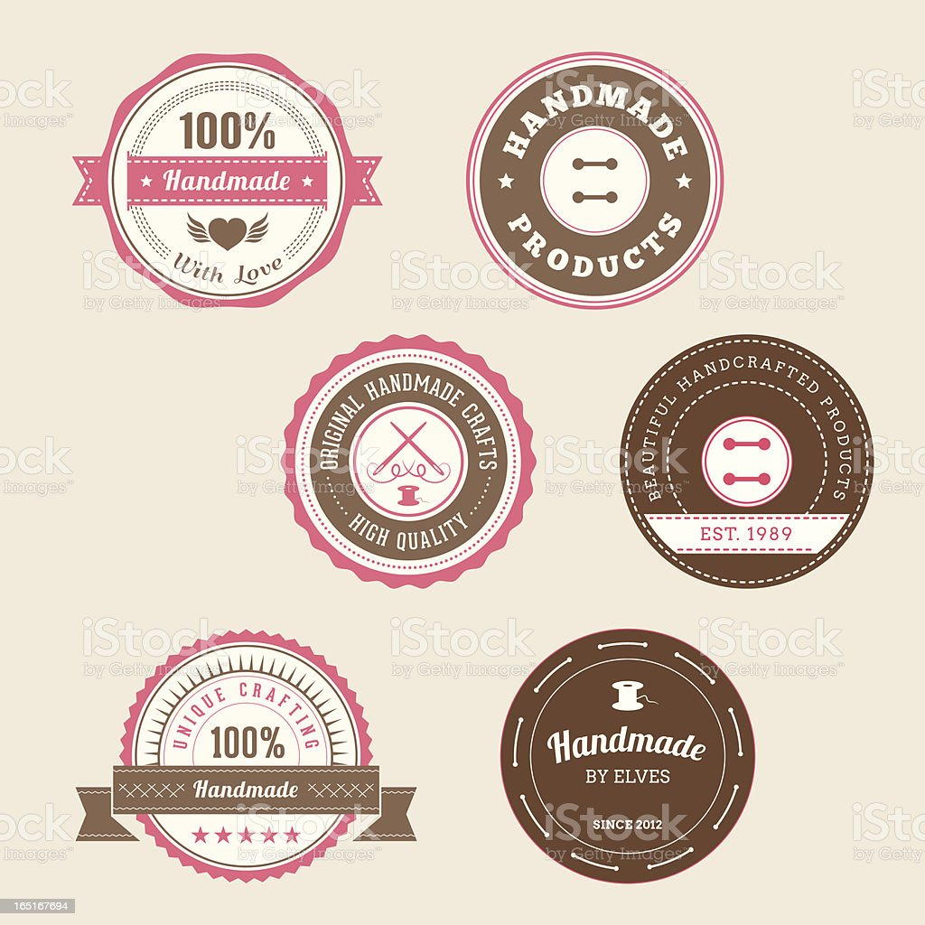 Badges for Handmade Products - Pink royalty-free badges for handmade products pink stock vector art & more images of art and craft
