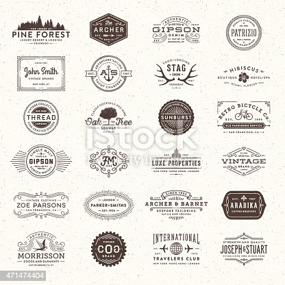 Collection of badges, labels, frames and banners with text over paper texture.EPS 10 file.More works like this linked below.