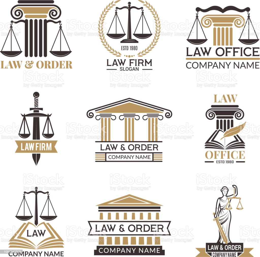 Abzeichen von Gesetz und Recht. Hammer des Richters, gesetzliches Regelwerk schwarzen Illustrationen von Etiketten für Rechtswissenschaft. Rechtliche Hinweise Vektor-Bilder – Vektorgrafik