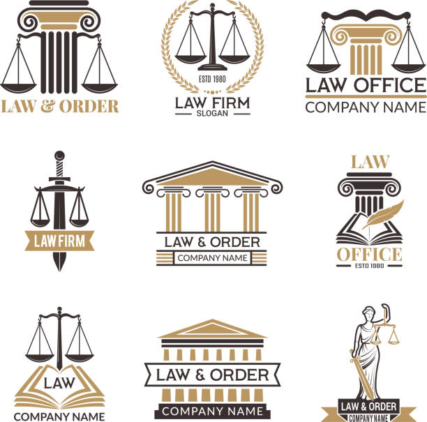 Badges of law and legal. Hammer of judge, legal code black illustrations of labels for jurisprudence. Legal notes vector pictures Badges of law and legal. Hammer of judge, legal code black illustrations of labels for jurisprudence. Legal notes vector pictures. Justice and lawyer, court and authority courthouse stock illustrations