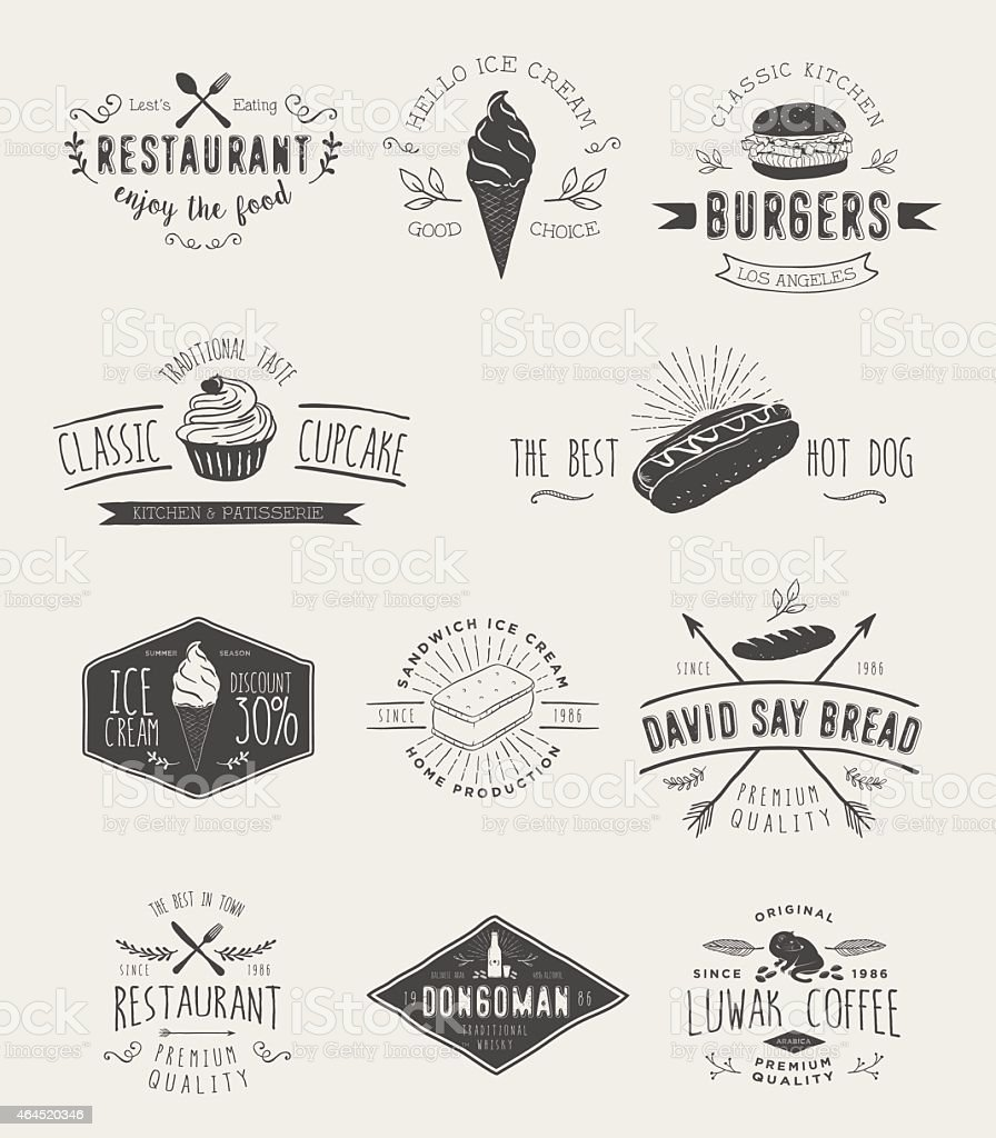 Badges set for food vector art illustration