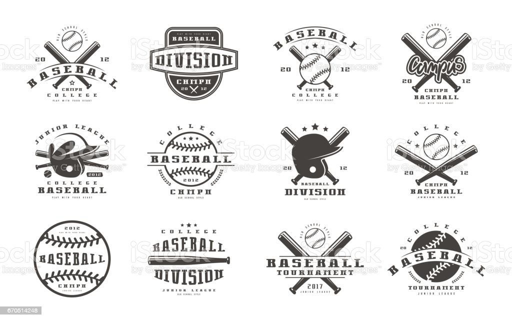 Badges set of baseball team vector art illustration