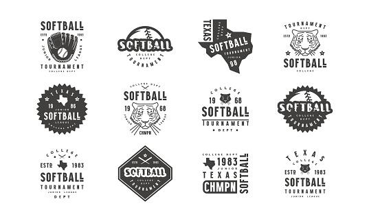 Badges set of softball tournament