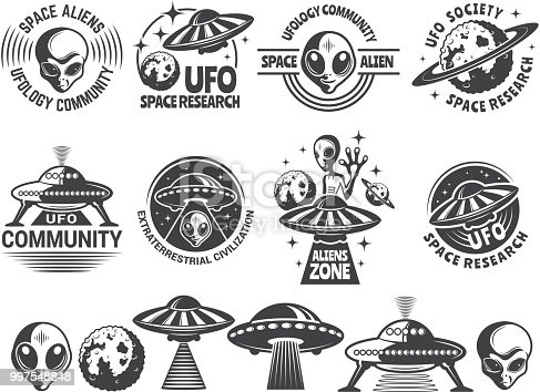 Badges set with ufo and aliens. Vector design templates with place for your text. Ufo explore, civiliztion research, society ufology illustration