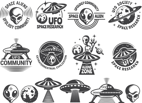 Badges set with ufo and aliens. Vector design templates with place for your text