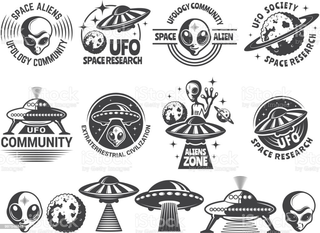 Badges set with ufo and aliens. Vector design templates with place for your text vector art illustration