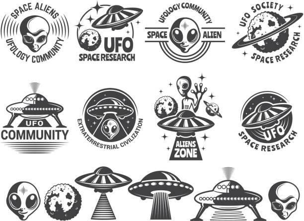 stockillustraties, clipart, cartoons en iconen met badges met een ufo en vreemdelingen. vector ontwerpsjablonen met plaats voor uw tekst - ruimte exploratie