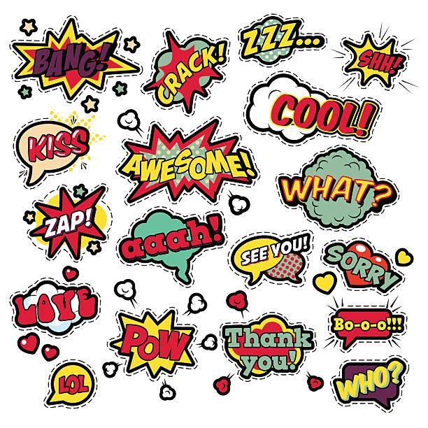 illustrazioni stock, clip art, cartoni animati e icone di tendenza di badges, stickers in pop art comic speech bubbles - pezze di stoffa