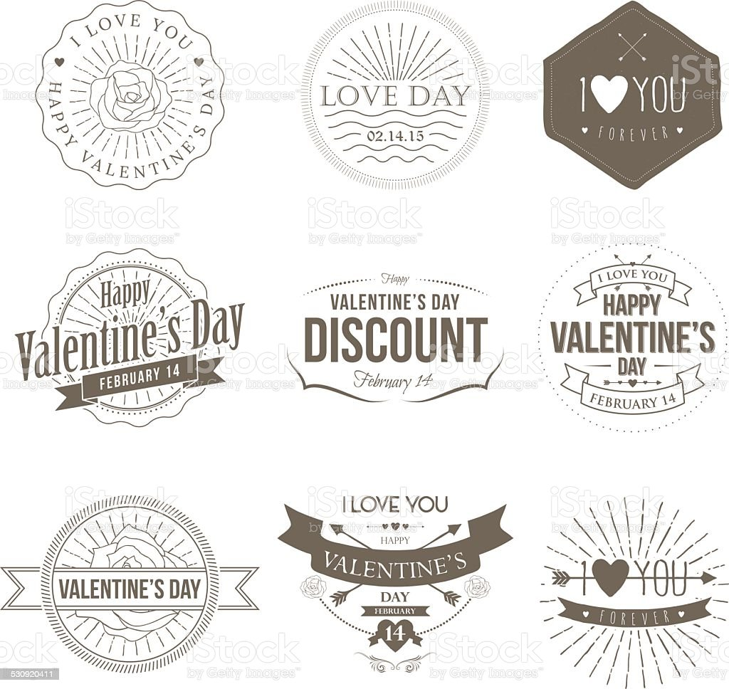 Badges Valentine Vintage vector art illustration