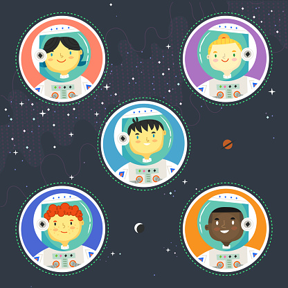 Badges with cute children characters  in astronaut suits and helmets