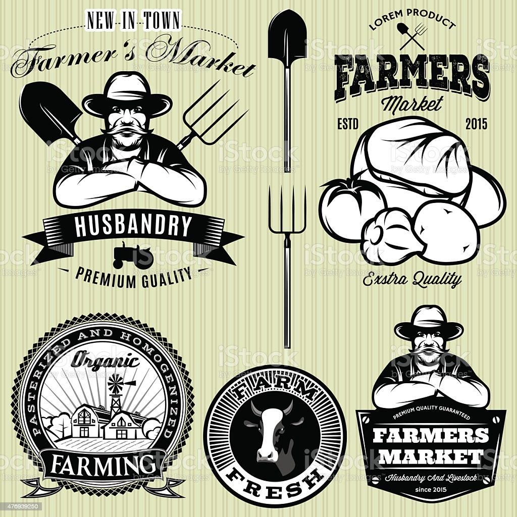 badges with the farmer and vegetables for the farmers shop vector art illustration