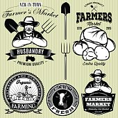 badges with the farmer and vegetables for the farmers shop