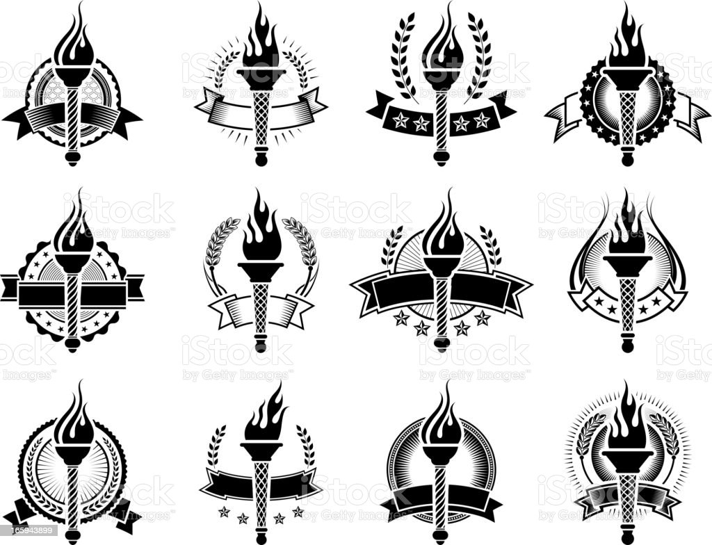 Badges with Torches black and white royalty-free vector icon set royalty-free badges with torches black and white royaltyfree vector icon set stock vector art & more images of award
