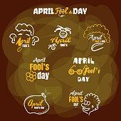 April fools day. Set of funny badges for 1st April. Vector illustration