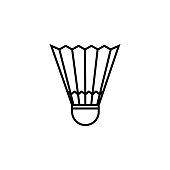 Badminton ball icon vector. Line badminton symbol. Trendy flat outline ui sign design. Thin linear graphic pictogram for web site, mobile application. Logo illustration. Eps10.