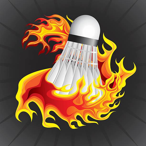 Badminton ball in flame vector art illustration