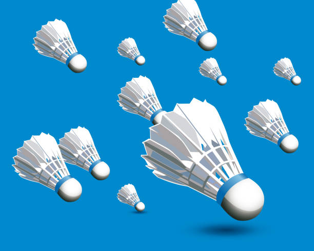 badminton ball realistic - badminton smash stock illustrations