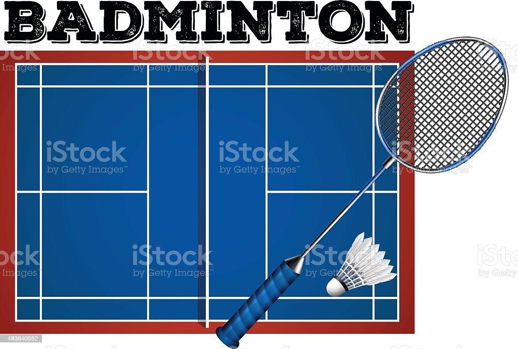 5530a7c6be Quadra de Badminton e equipamentos ilustração de quadra de badminton e  equipamentos e mais banco de