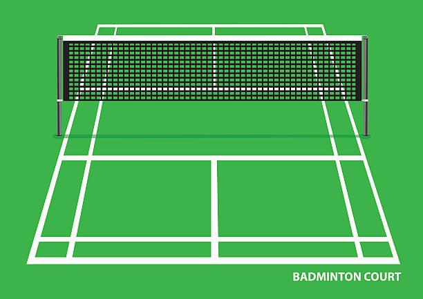 badmintonplatz vektor-illustration - badminton stock-grafiken, -clipart, -cartoons und -symbole