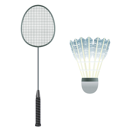 Badminton equipment. Badminton racket and shuttlecock.