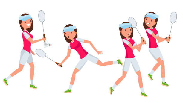 badminton female player vector. playing in different poses. woman. athlete isolated on white cartoon character illustration - badminton smash stock illustrations