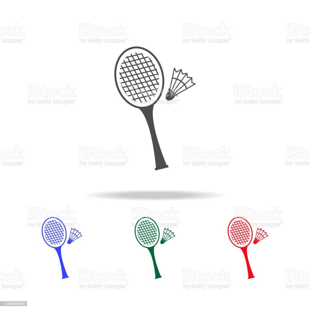 c0dc894cd Ícones de badminton. Elementos do esporte elemento no multi coloridas ícones.  Ícone de design