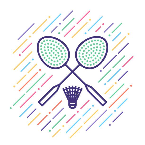 Badminton Line Icon Line vector icon illustration of badminton equipment. shuttlecock stock illustrations
