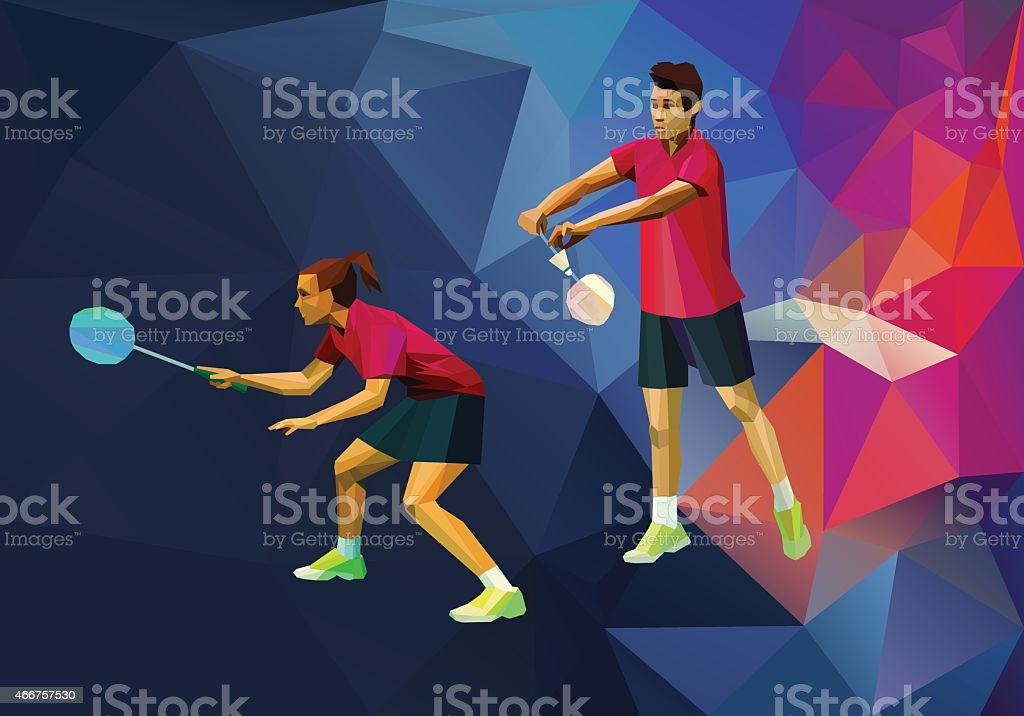 Badminton mixed doubles, badminton players vector art illustration