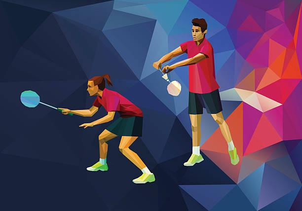 badminton mixed doubles, de badminton Jogadores - ilustração de arte vetorial